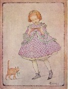 Ethel Everett - Edwardian Girl Reading Letter with Cat - Image 1